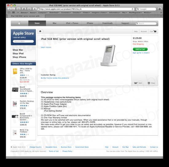 iPod 1G de 5GB na Apple Store
