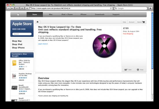 Snow Leopard na Apple Online Store do Reino Unido
