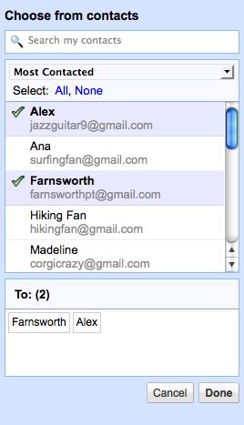 Contact Chooser do Gmail