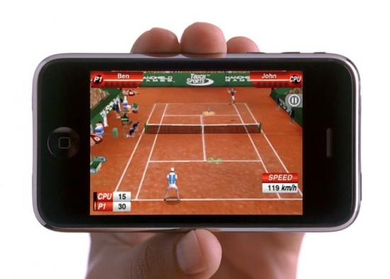 Jogo de tênis no iPhone