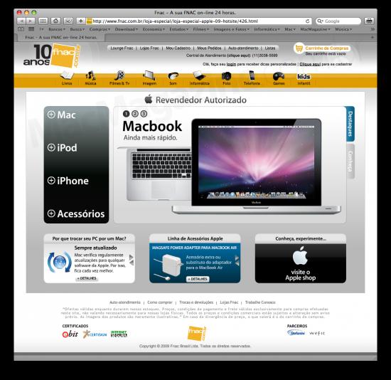 Hotsite Apple no Fnac.com.br