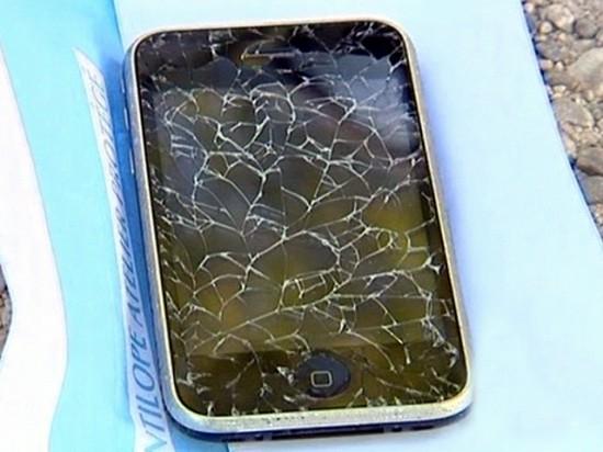 iPhone com tela rachada na França