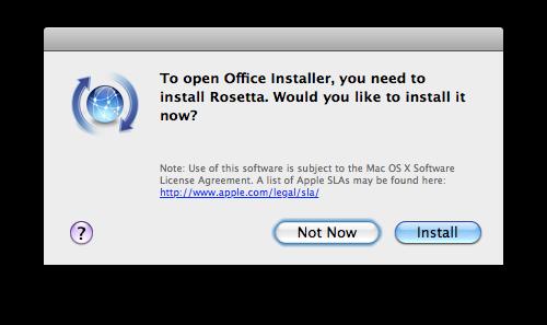 Office e Rosetta no Snow Leopard