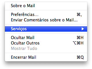 Services no Mail.app