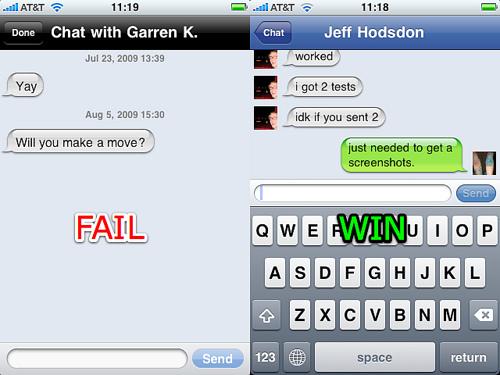 Bolhas de chat da Apple vs. Joe Stump