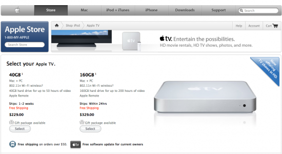 Apple TV na Apple Online Store