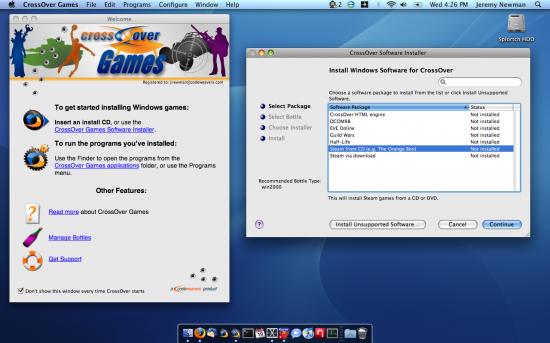 CrossOver Games 8 no Mac OS X
