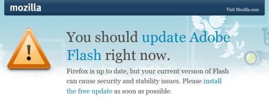 Alerta sobre Flash desatualizado no Firefox