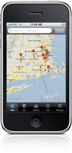 Outbreaks Near Me no iPhone