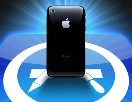 iPhone em cima do logo da App Store