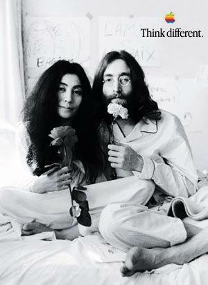 Yoko e John Lennon na campanha Think Different, da Apple