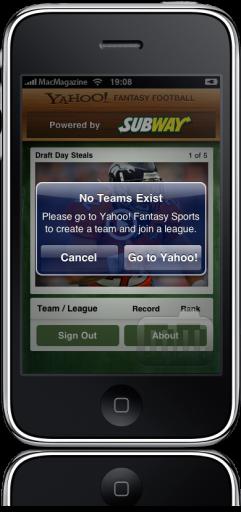Yahoo! Fantasy Football '09 no iPhone