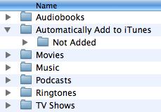 Pasta automática do iTunes 9