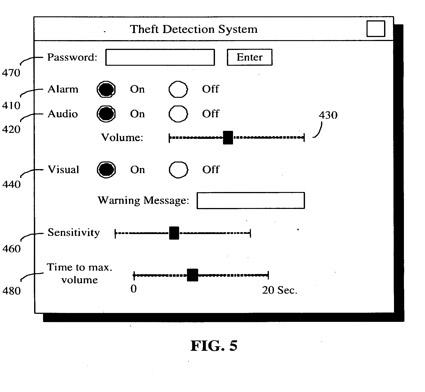 Esquema da patente anti-furto da Apple