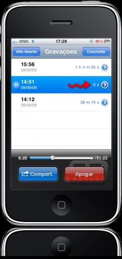 iPhone FAIL 0s no Gravador de Voz