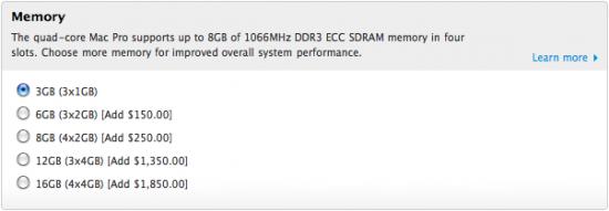 Configuração de RAM para Macs Pro quad-core na Apple Online Store