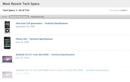 Tech Specs de produtos da Apple
