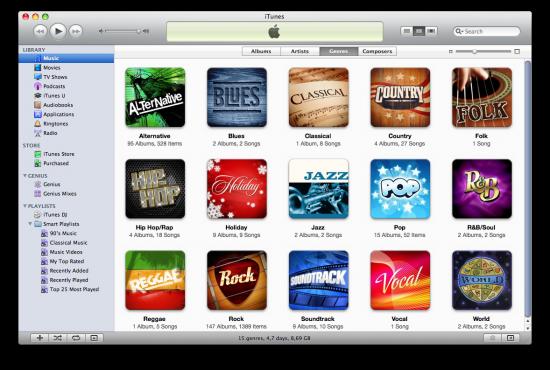Música no iTunes 9