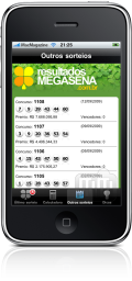 Resultados Megasena 2.0 no iPhone