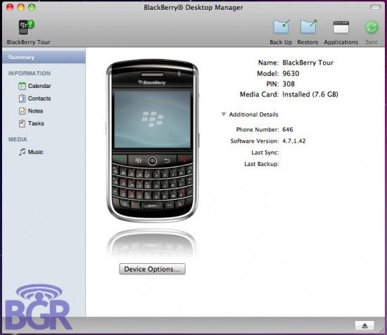 BlackBerry Desktop Manager para Mac