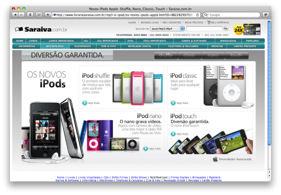 iPods 2010 na Saraiva