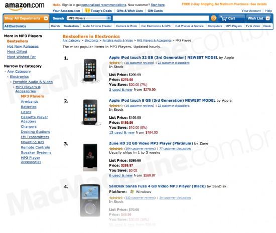 Ranking de MP3 players da Amazon