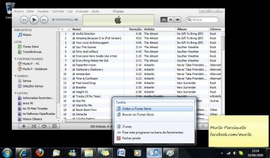 Menu do iTunes 9 no Windows 7