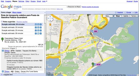 Google Transporte Público no Rio