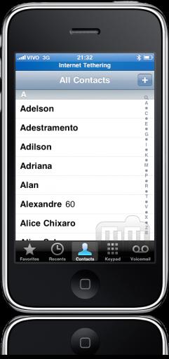 iPhone OS alfabeto contatos