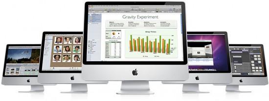 iMacs com aplicativos comerciais da Apple
