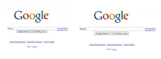 Antiga e nova página inicial do Google