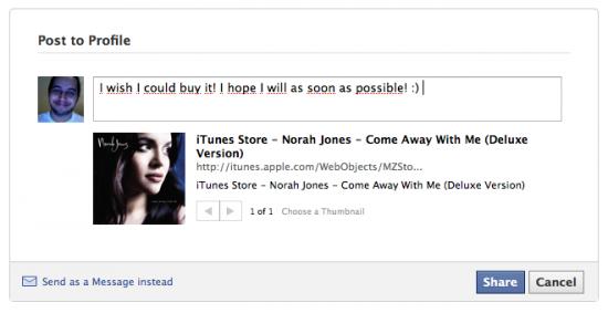 Integração iTunes 9 com Facebook 1