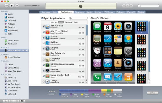 9 itunes9 sync 550x352 Nova atualização do iTunes: iTunes 9