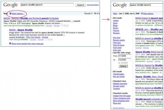 Opções de filtragem de buscas no Google