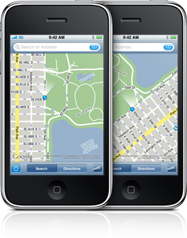 iPhone com Google Maps