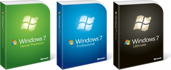 Caixas do Microsoft Windows 7