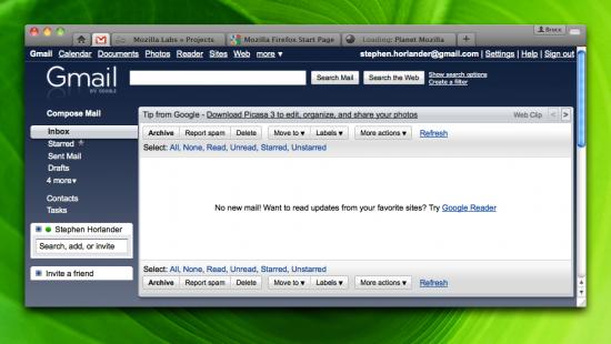 Note como está a aba do Gmail na janela do Firefox 4.0: ela é uma App Tab