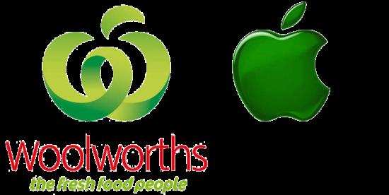 Marcas da Woolworths e da Apple