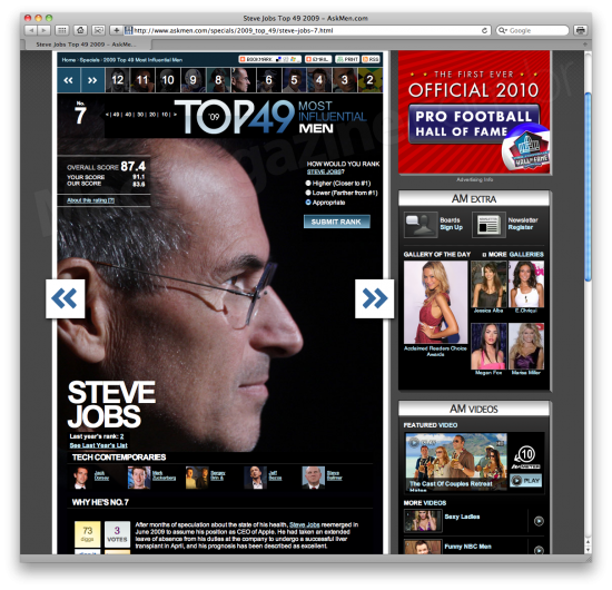 Steve Jobs no AskMen.com 2009