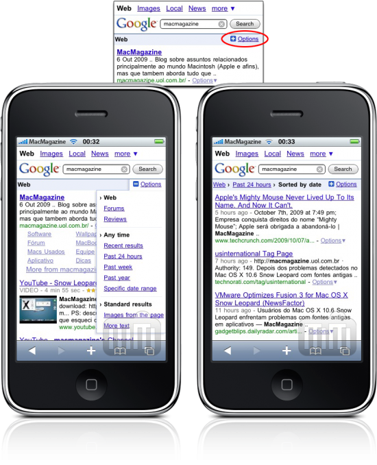 Google Search Options no iPhone