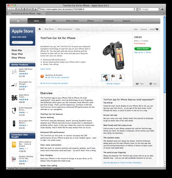 TomTom na Apple Store UK
