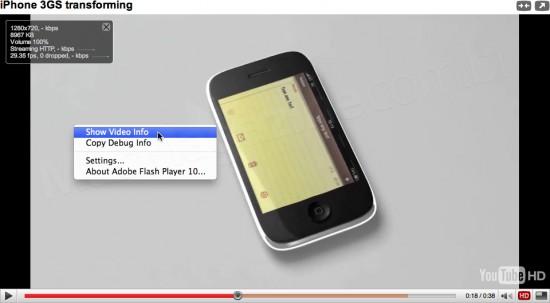 Player do YouTube com infos do vídeo