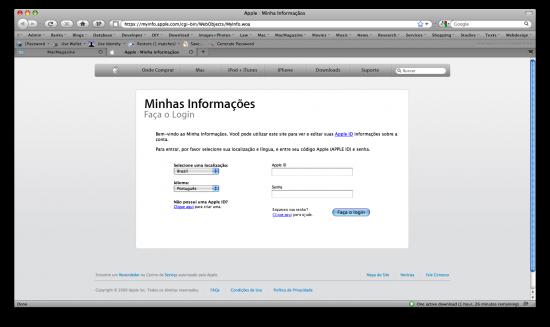 Apple.com e Minha Informaçãos FAIL