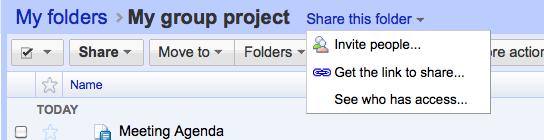 Sharing folders no Google Docs