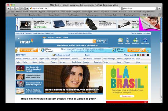 Anúncio da Apple veiculado no MSN Brasil