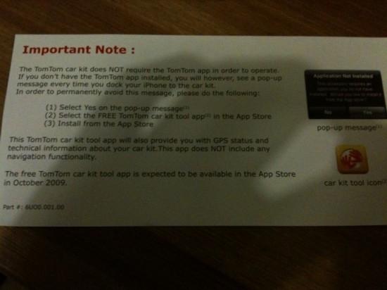 Advertência sobre o TomTom Car Kit para iPhone