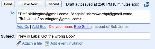 Gmail Labs: Got the Wrong Bob?