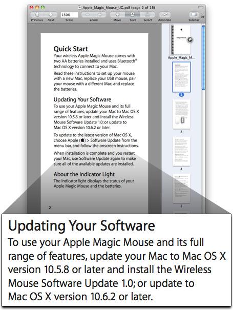 Apple Magic Mouse e Mac OS X 10.6.2