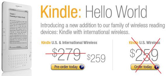 Preço do Kindle internacional