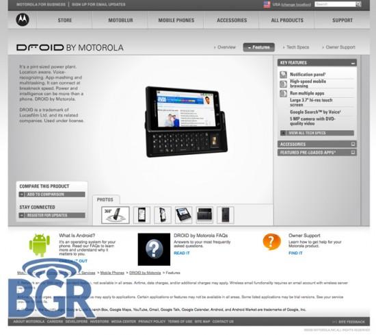Droid no site da Motorola